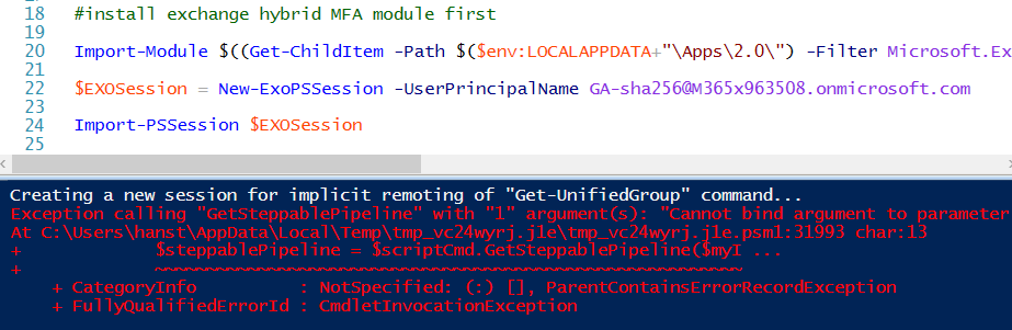 How to connect to Exchange Online PowerShell via ISE with MFA the